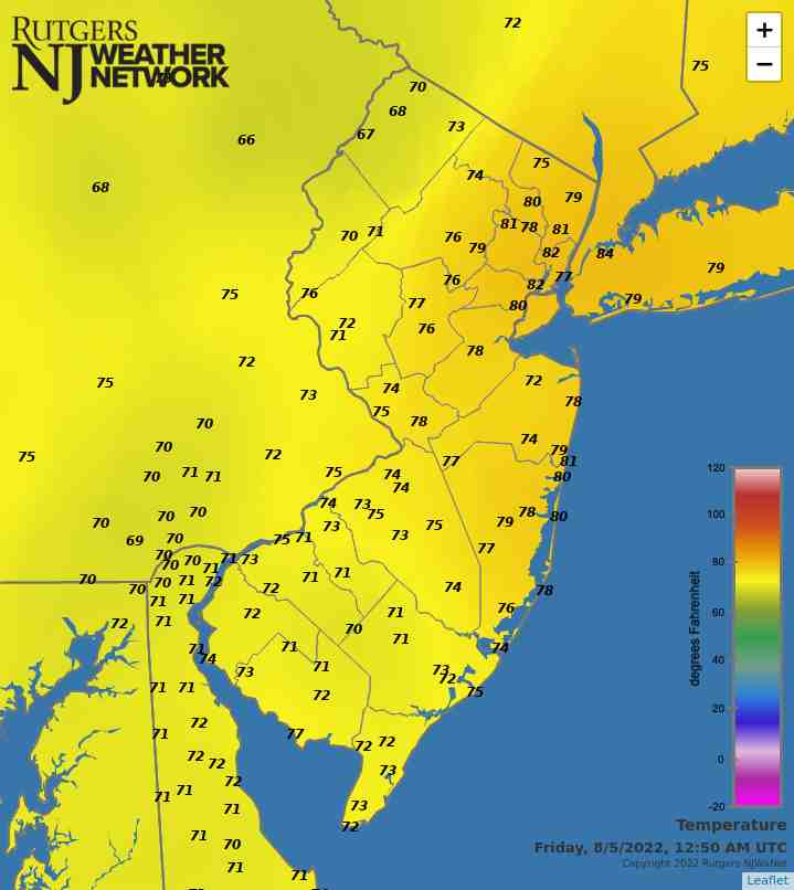 Latest NJWxNet Temperature Map