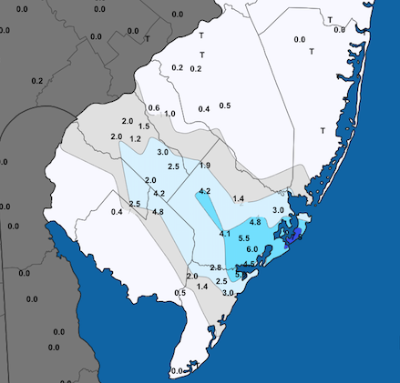 Snowfall map for December 5th southern NJ snow