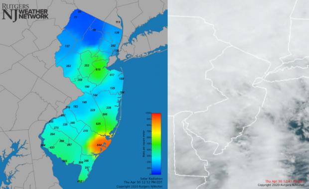 Solar radiation and visible satellite maps from April 30th
