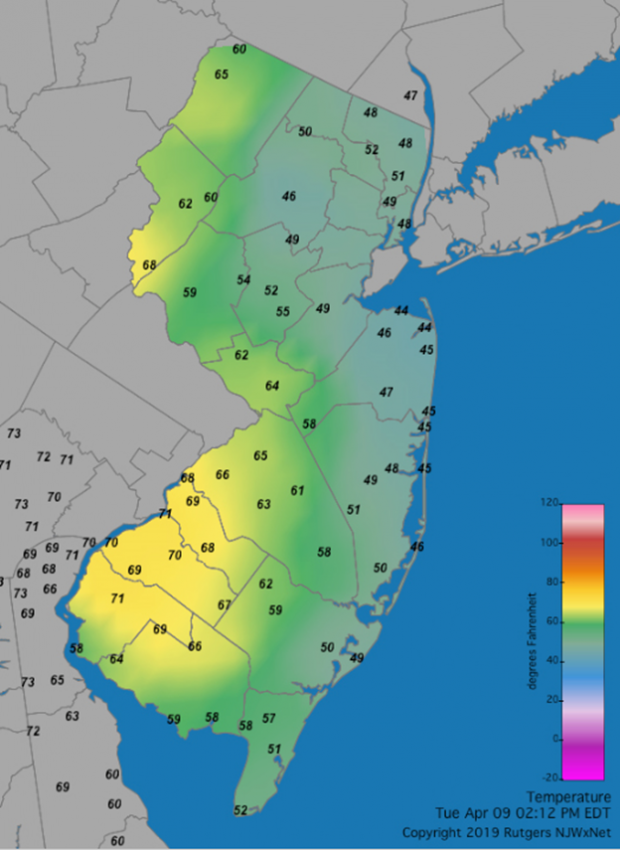 2:12 PM NJ temperature map