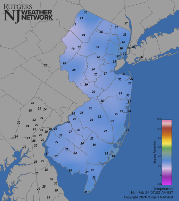 Temperatures across NJ and surrounding states at 7:00AM on February 24th.