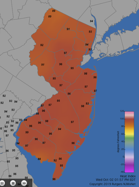 Figure 6. Heat index at 1:55 PM on October 2nd.