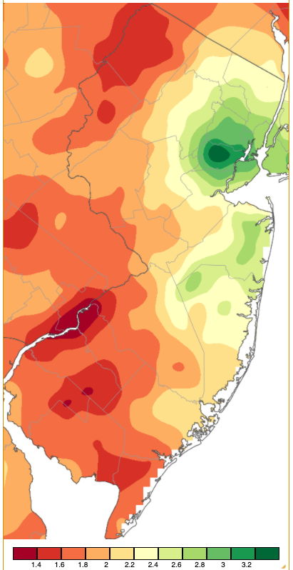 January 2021 PRISM precipitation estimate map