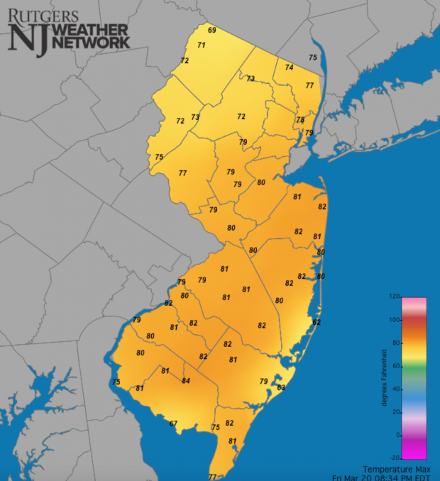 Maximum temperatures at NJWxNet stations on March 20th.