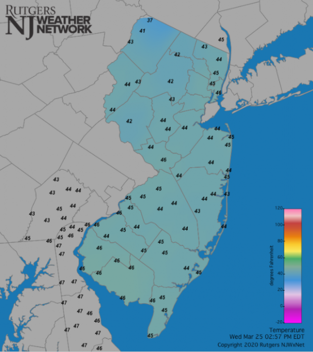 Temperatures across NJ and surrounding states at 2:55 PM on March 25th.