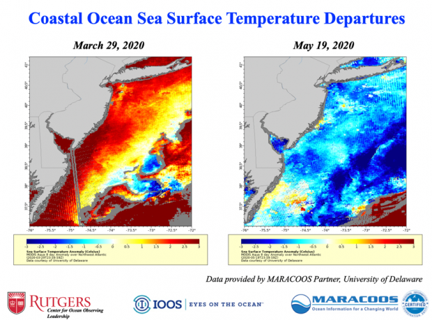 Sea surface temperatures off NJ on March 29th and May 19th