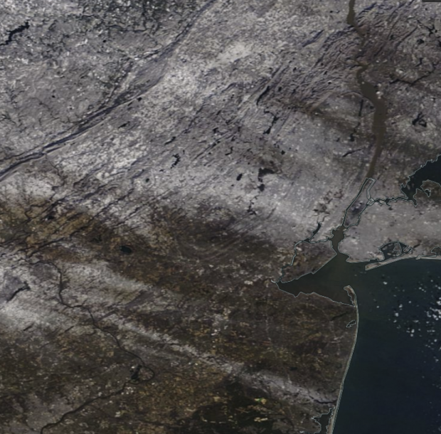 NASA MODIS satellite image showing snow cover on December 19th