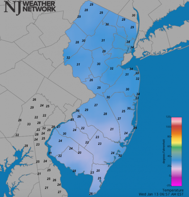 NJ temperature map at 6:57 AM on January 13th