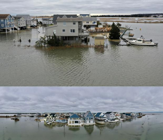 Drone photos of tidal flooding near the morning high tide on December 17th