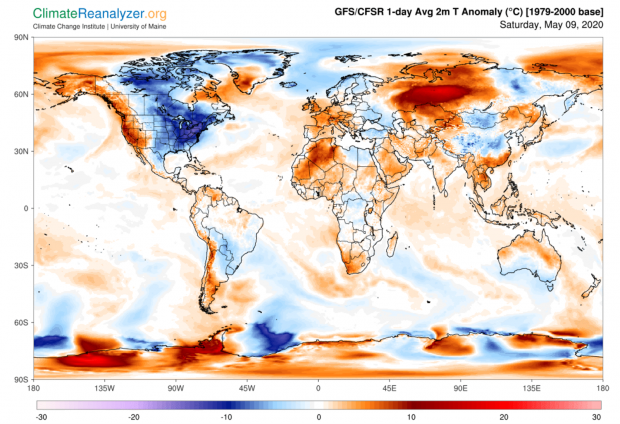 One-day average worldwide temperature anomaly map for May 9th