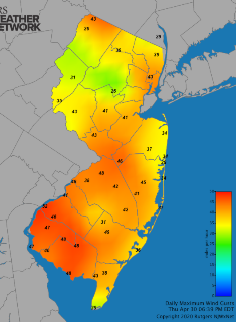 Maximum wind gust map on April 30th