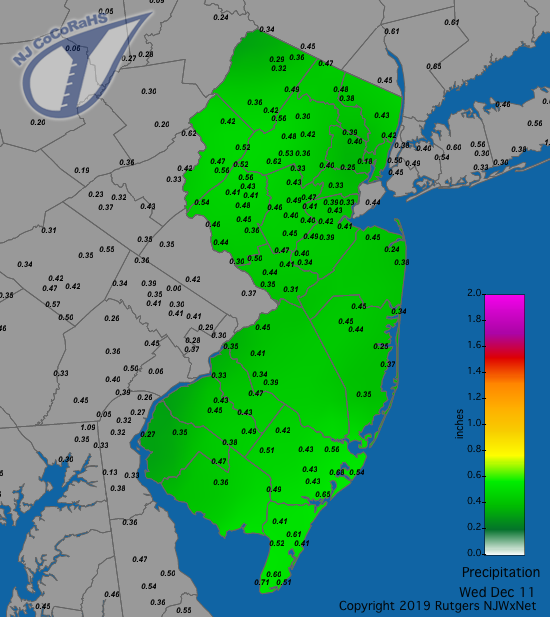 Precipitation map for December 11th