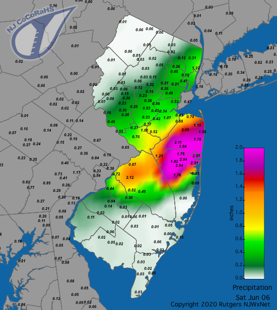 Precipitation map for June 6th