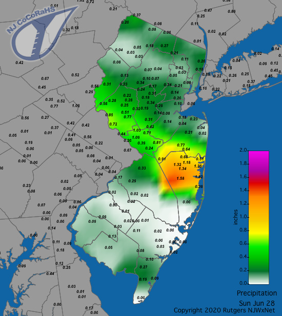 Precipitation map for June 28th