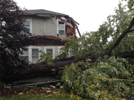 Damage from tornado in Paramus