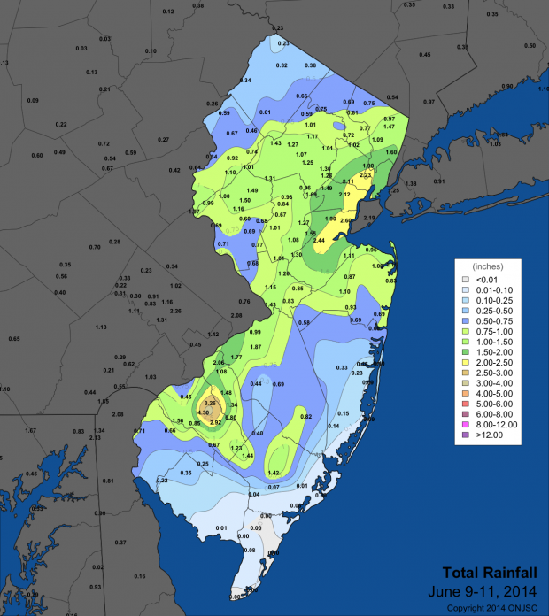 Map of rainfall totals