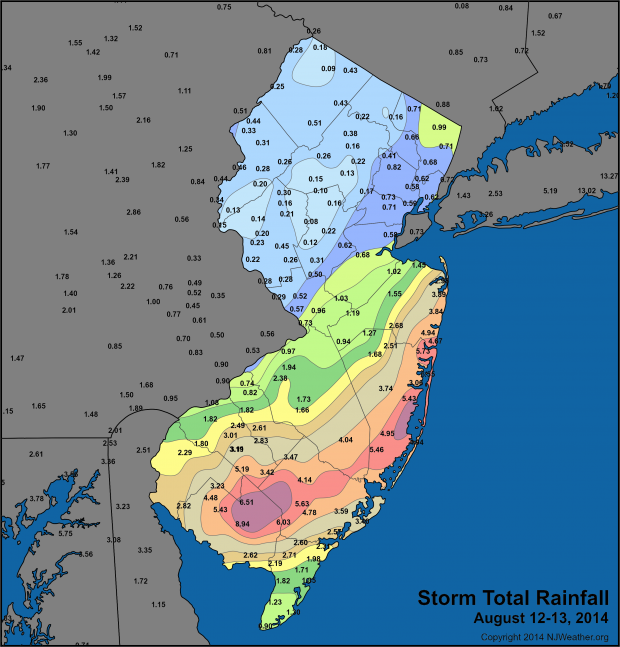 Rainfall totals map