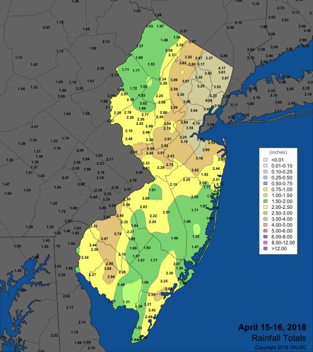 Rainfall map from April 15-16