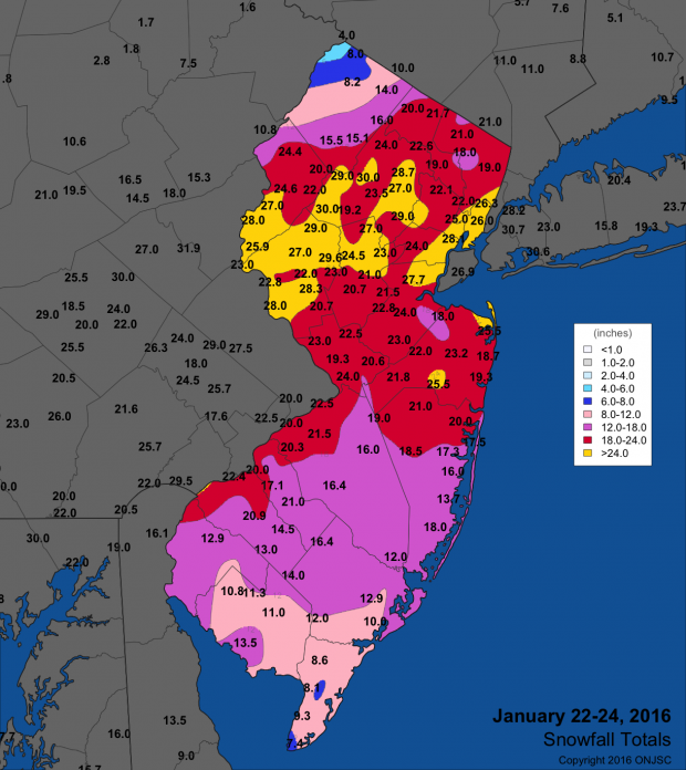 January 23–24 snow map