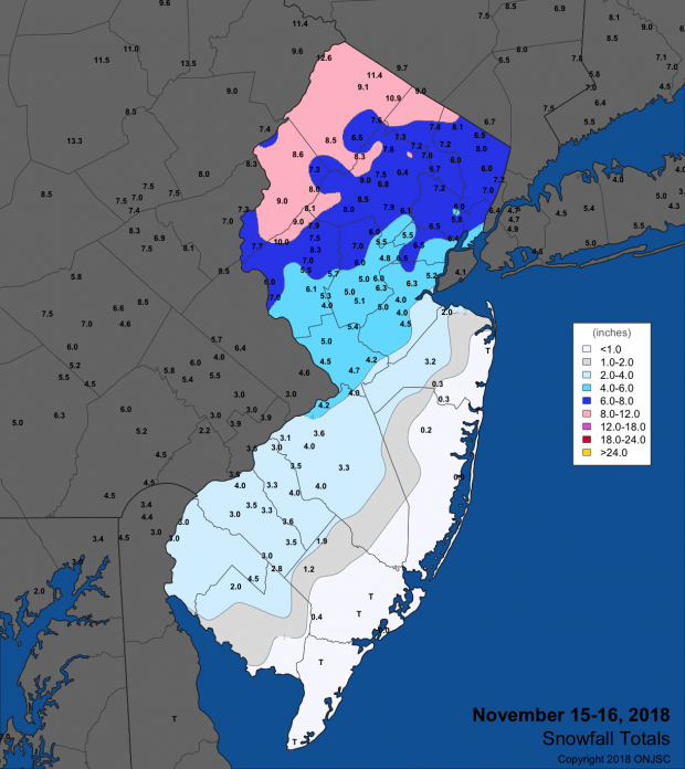 Snowfall map for November 15th-16th event