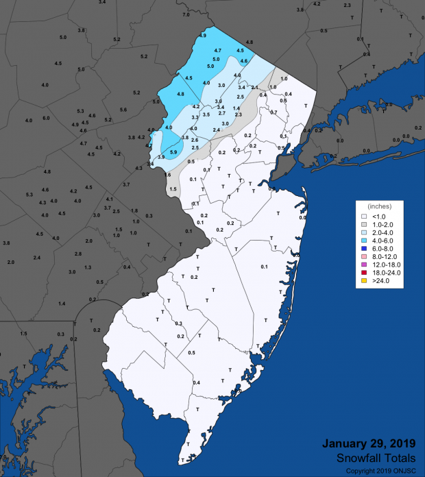 Snowfall map for January 29th