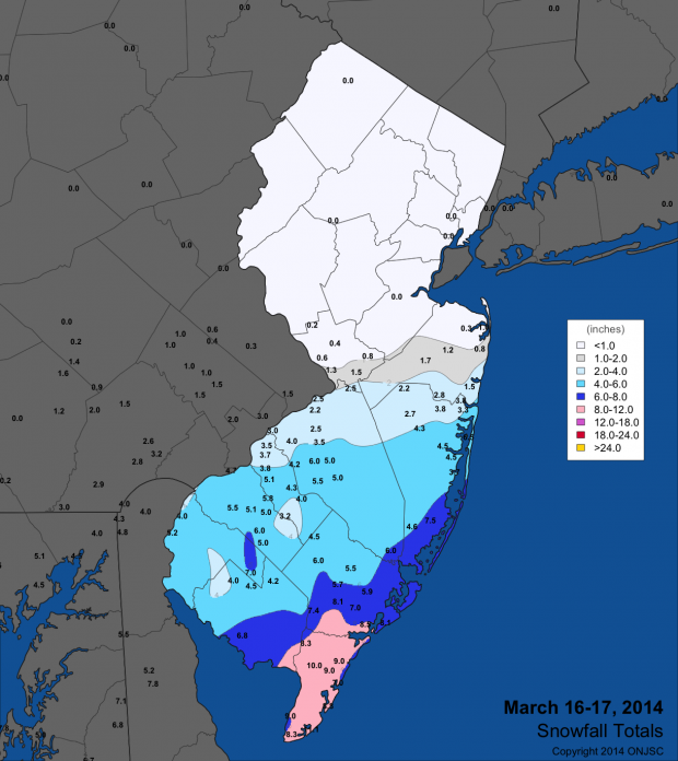Snow map from March 16-17, 2014