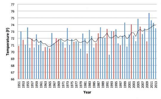 Time series of New Jersey average summer temperatures from 1951-2013.  Red bars indicate years with an El Niño event.  Black line indicates 5-year moving average.
