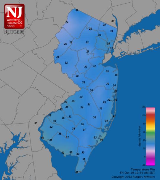 Oct 19 minimum temperature map