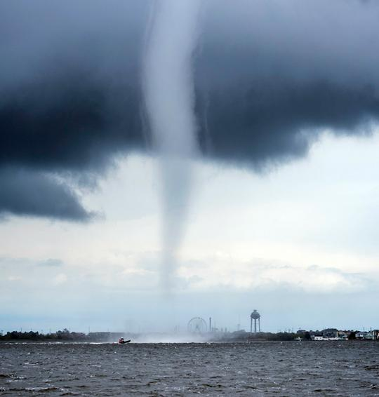 A waterspout over Barnegat Bay on May 8th near Seaside Heights