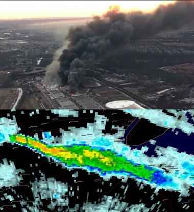 Fire photo/radar combo graphic
