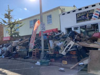 Photo of flood debris from business establishments on Main Street in Manville on September 7 (photo credit: M. Holzer).