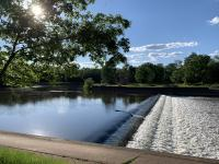A weir immediately downstream of the confluence of the Raritan and Millstone rivers in Somerset County on June 16th, as taken from the towpath of the Delaware-Raritan Canal